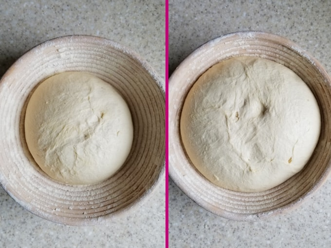 side by side photos showing sourdough semolina bread before and after rising