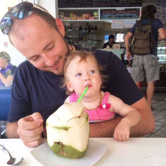 Baby Drinking Coconut Water