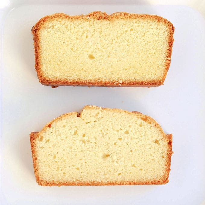 Two slices of gluten free pound cake on a white background. Shows how in cake batter, flour can be gluten free or wheat