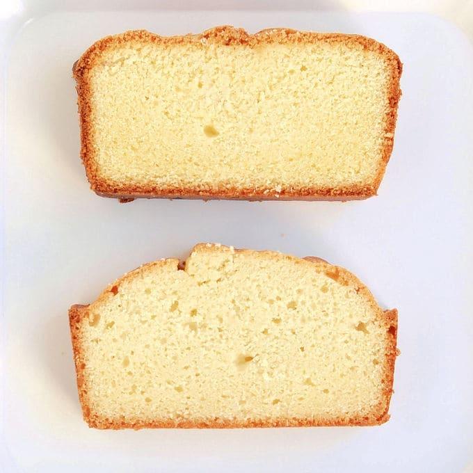 two Pound cakes made with gluten free flour
