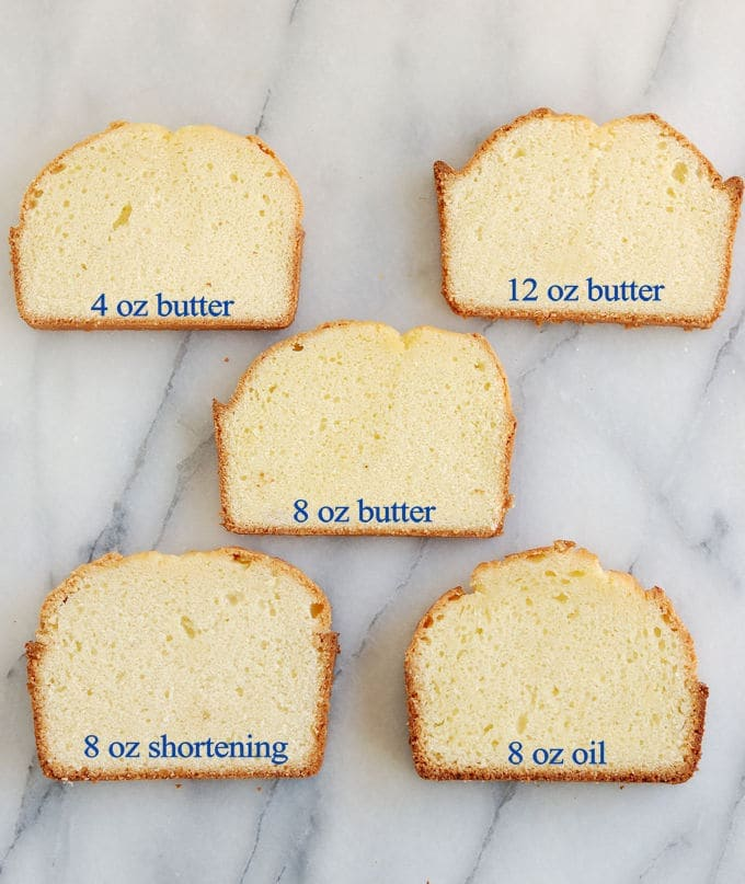 Five slices of pound cake baked with different fats on a marble board. Text overlay displays amount of fat used in the batter.