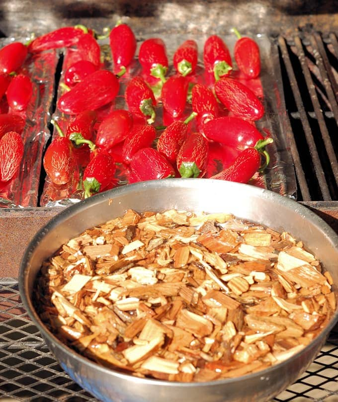grill setup for making chipotle peppers