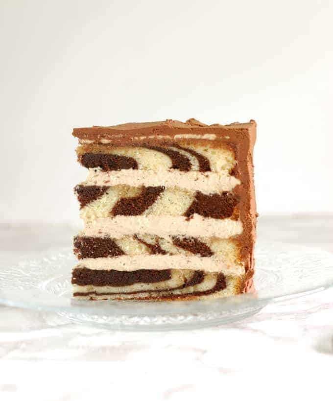 a slice of marble cake on a plate