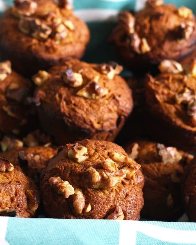 These pumpkin nut muffins are perfect when you are looking for a tasty fall breakfast! They are a great alternative to traditional banana nut muffins and are easy to make.   honeyandbirch.com