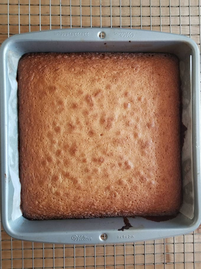 a baking pan with malted milk blondies