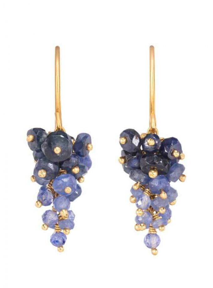 Photo of beaded sapphire earrings with gold, forming bunch of grapes shape. Photo on white background.