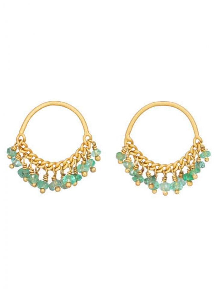 Emerald and Gold Loop Stud Earrings