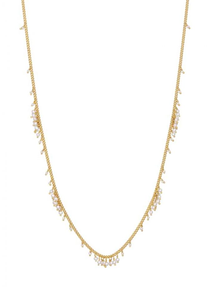 Pearl and Gold Scattered Row Necklace