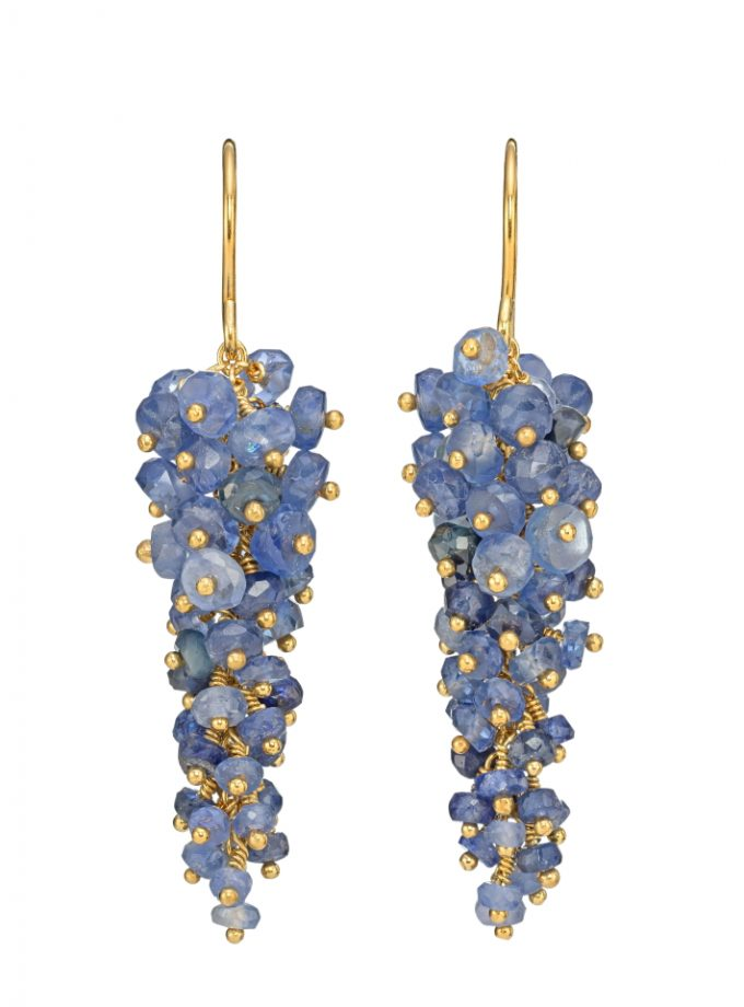 Photo of blue sapphire drop earrings.