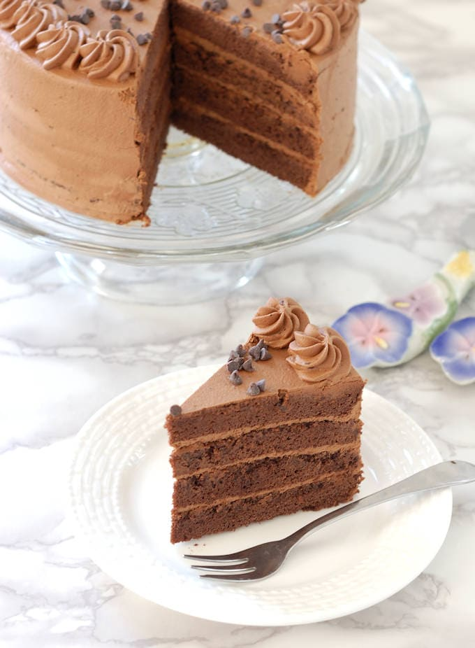 a chocolate genoise layer cake filled with chocolate cream