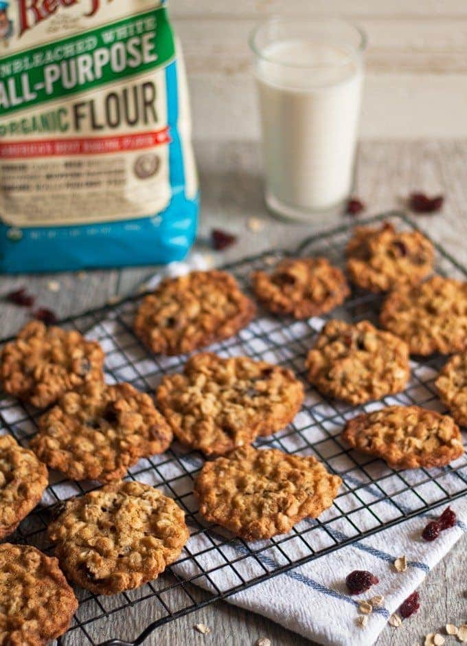 oatmeal cranberry cookies and a glass of milk