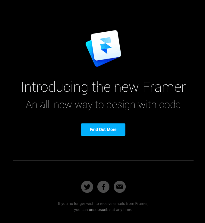 Introducing the new Framer announcement email sample