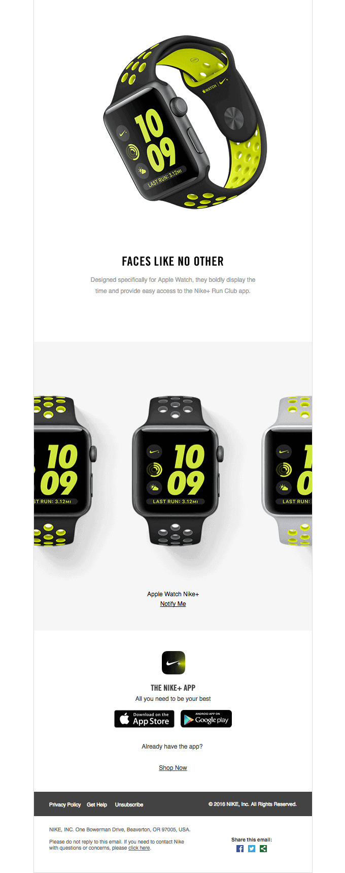 Introducing Apple Watch Nike+ product launch email sample part 2
