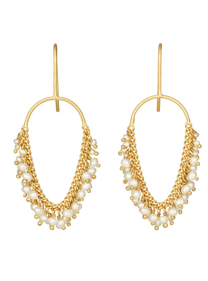 Photo of gold and pearl earrings on white background