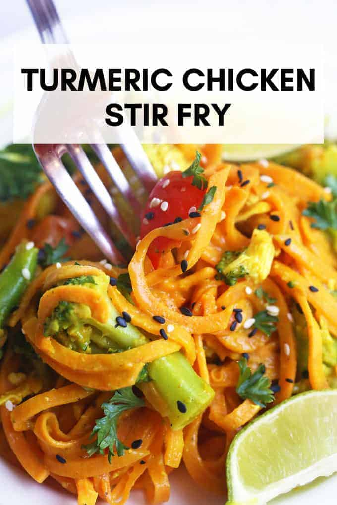 This amazing, healthy, and POWERFUL turmeric chicken stir fry is an anti inflammatory and low histamine recipe. Perfect for those dealing with chronic hives, inflammation, allergies, and are gluten and dairy free. #turmericrecipes #chickenstirfry #healthychickenrecipes #antiinflammatorydiet #lowhistaminediet