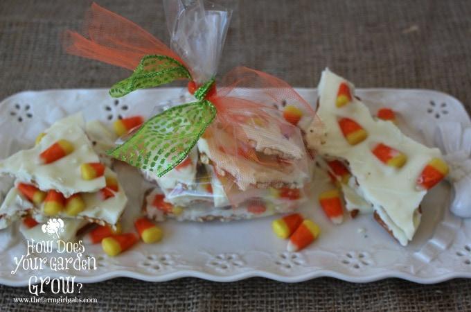 Candy Corn Bark on Tray