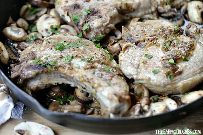 Be chef inspired at home with this easy and delicious Maple Mustard Pork Chops With Braised Mushrooms recipe made with Smithfield Prime Fresh Pork.