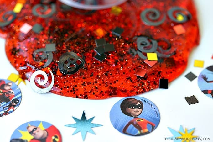 Our favorite Supers are BACK this summer with an all new movie. Make a batch of this fun Incredibles Elastigirl Slime to celebrate. And remember, no capes! #Slime #SlimeRecipe #DisneyCraft #Pixar #TheIncredibles #TheIncredibles2 #WaltDisneyWorld