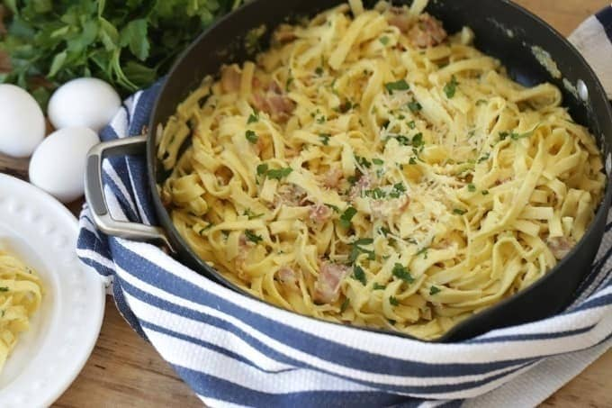 Eggs, bacon and parmesan team up to create an out of this world Pasta Carbonara. This easy recipe is perfect for a quick weeknight meal.