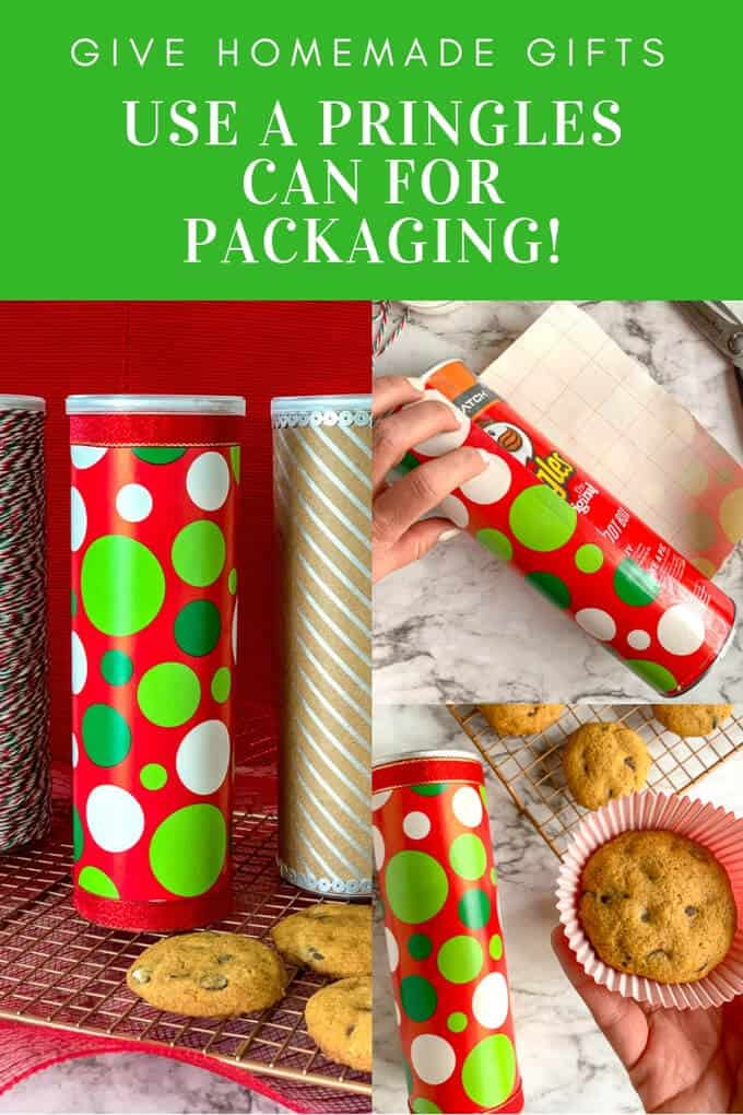 Packaging for cookies doesn't have to be expensive. Here is a low-cost idea that uses a can of Pringles. Make this easy Christmas craft with your family then share your homemade cookies for holiday gifts. #abakershouse #christmascraft #holidaybaking #cookies #christmascookie #creativepackaging #giftpackaging #howtopackagecookies #homemadegifts #getcrafty