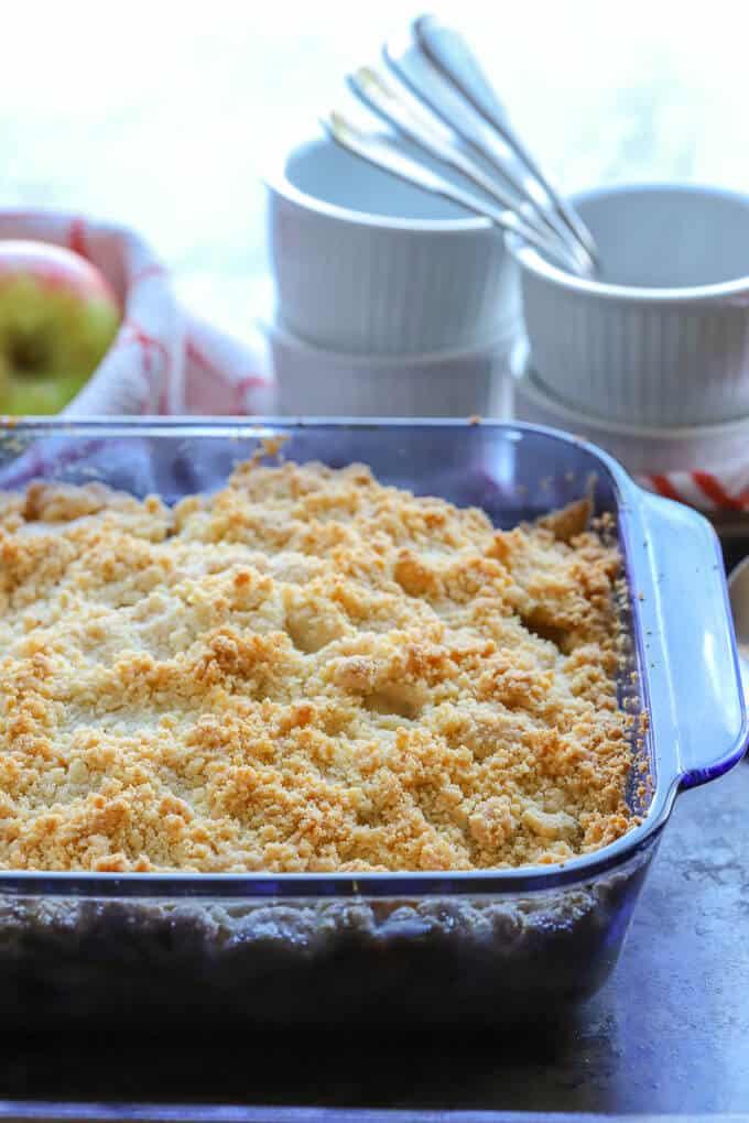 Freshly baked gluten free apple crumble