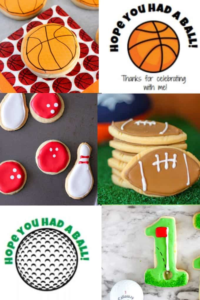 Collage images of sports cookies and sports party favor labels