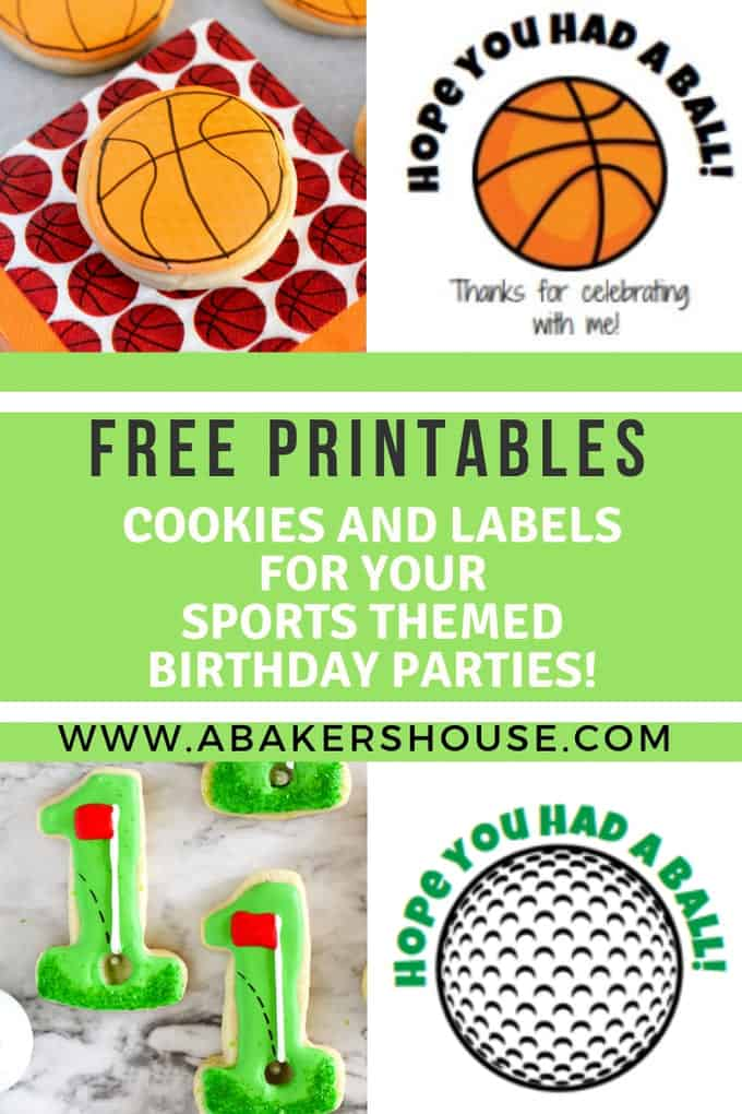 Cookies and printable labels for sports themed party favors