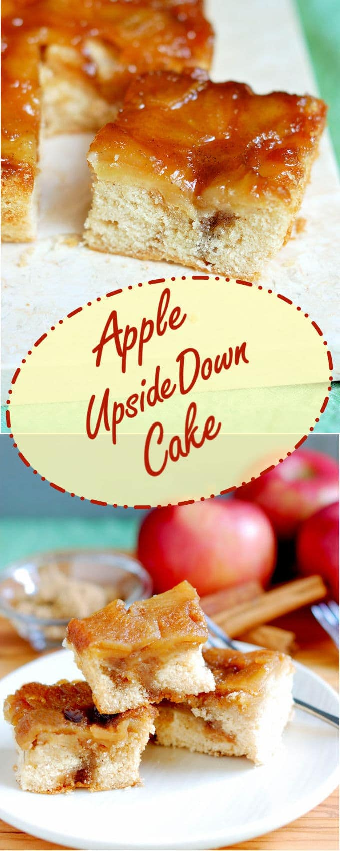 Fresh apples baked in caramel on a cinnamon buttermilk cake