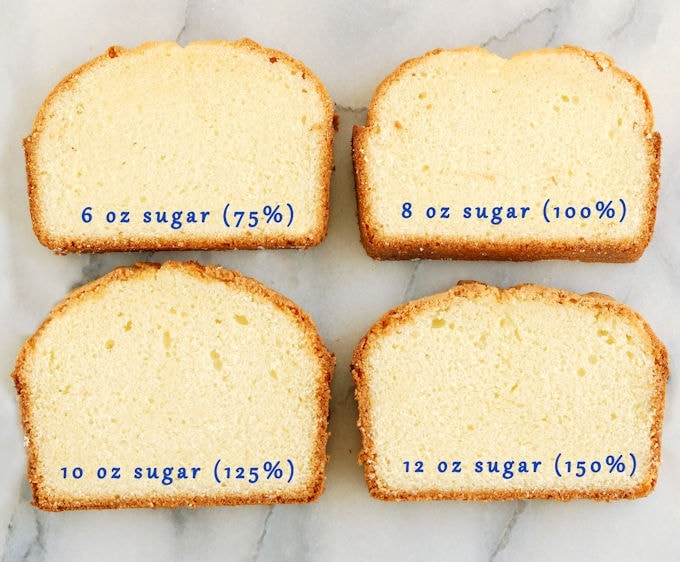 Four slices of pound cake on a marble slab. Blue text overlay stating the cake batter sugar variations in each cake.