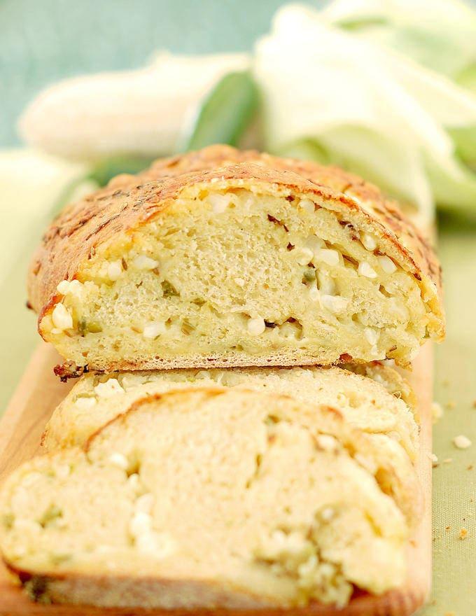 a loaf of sourdough cornbread