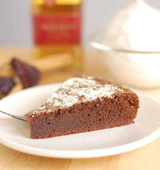 a slice of flourless mexican hot chocolate cake
