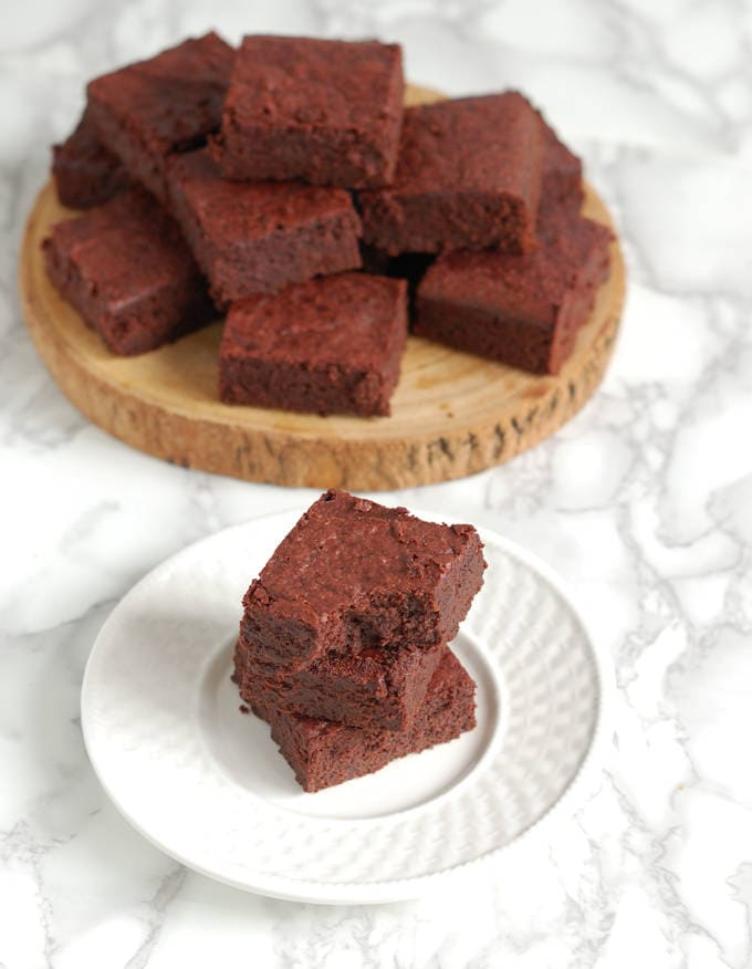 beet brownies on a plate