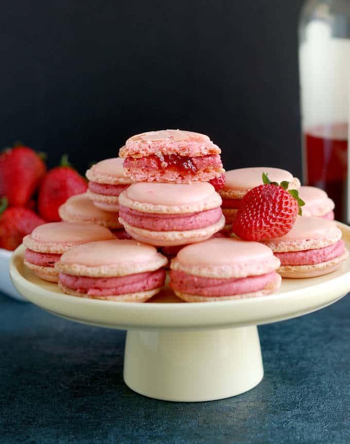 strawberry rose macarons