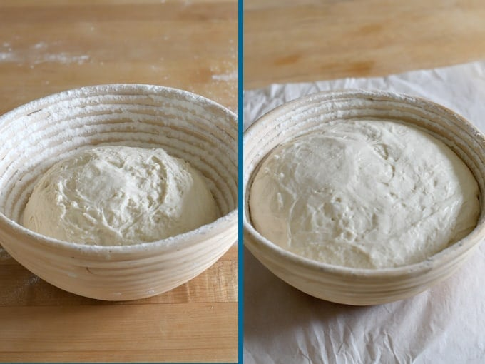sourdough before and after rising in a bread basket