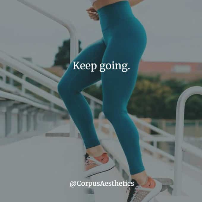 fitness motivational quotes, keep going, a girl in blue tights is running up stairs throw the town