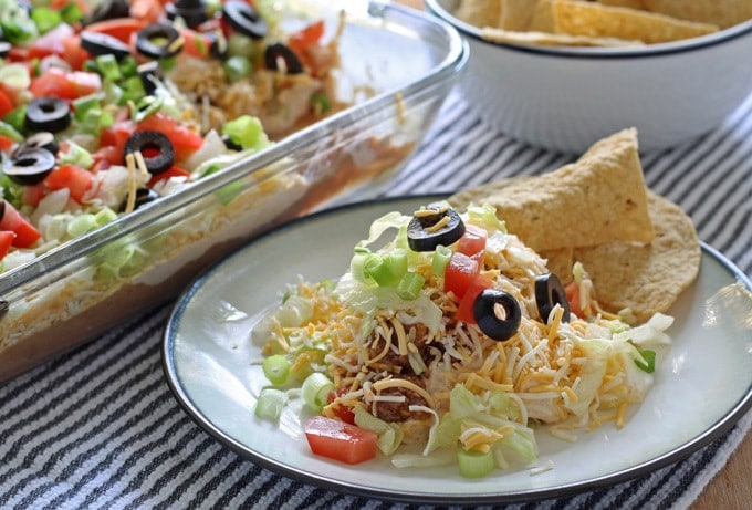 single portion of layer taco dip