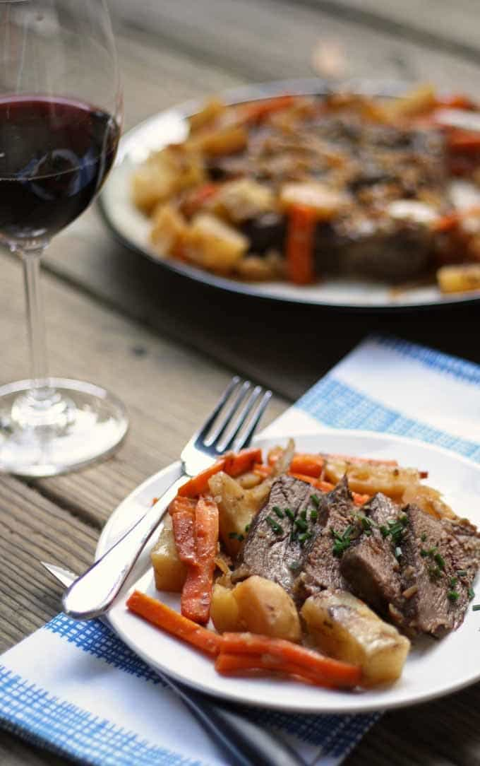 This slow cooker pot roast recipe is sure to make it on your Sunday supper rotation. Bust out that slow cooker and make this roast!