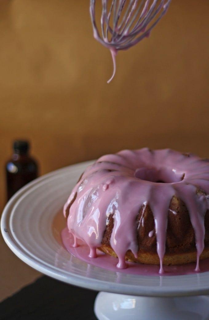 Vanilla Bean Bundt Cake with Pomegranate Glaze   www.honeyandbirch.com
