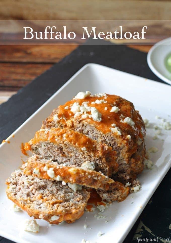 Buffalo Meatloaf www.honeyandbirch.com #dinner #sundaysupper
