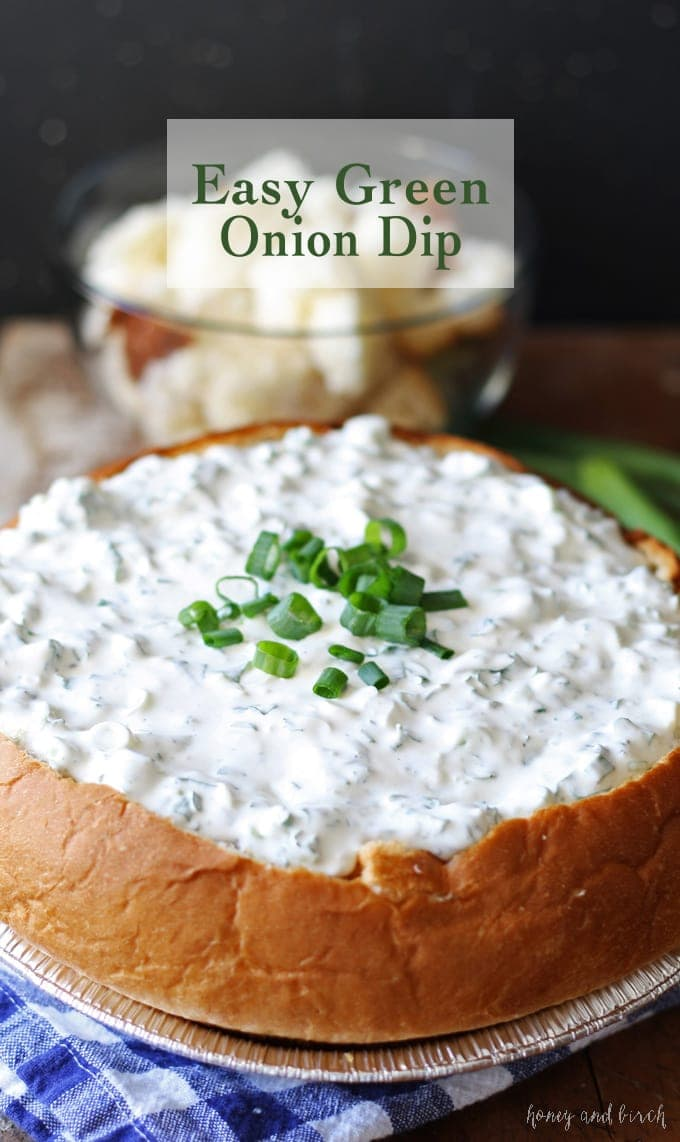 easy green onion dip in a bread bowl