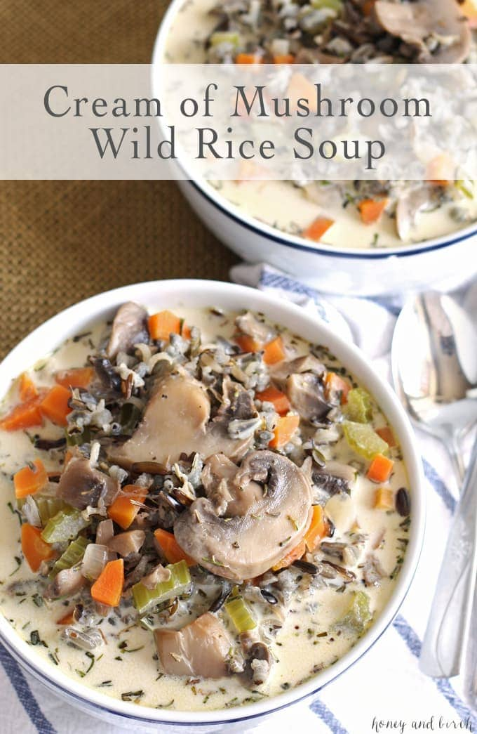 two bowls of cream of mushroom wild rice soup