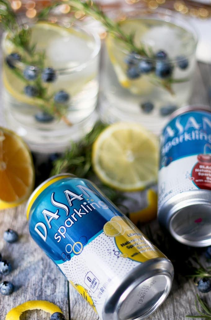 lemon blueberry vodka spritzers and cans of sparkling water