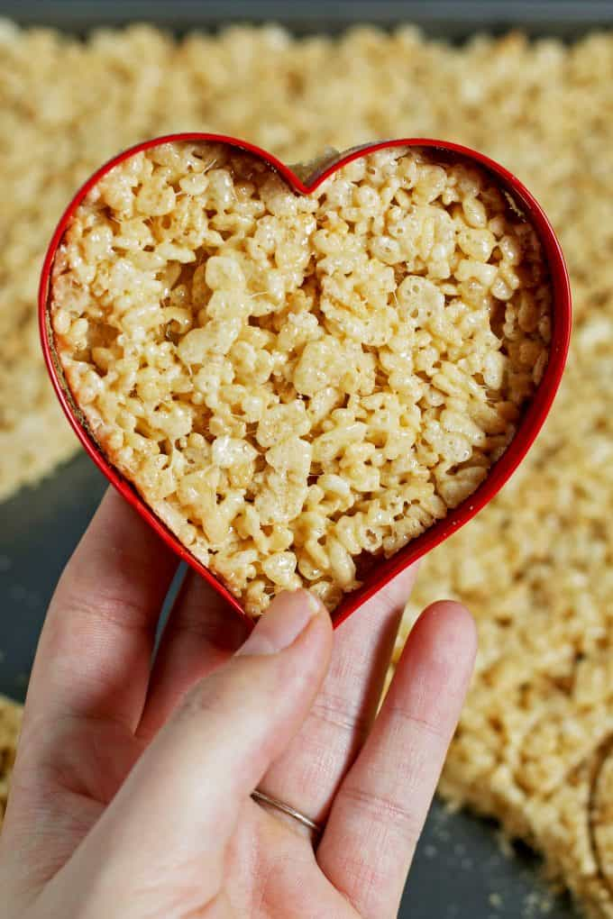 heart shaped Rice Krispie treat in the heart shaped cookie cutter