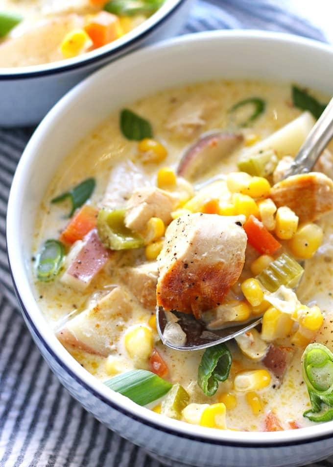 chicken corn chowder on a spoon