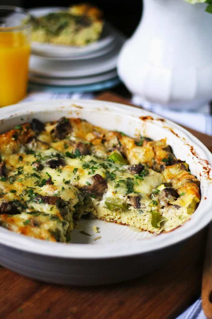 egg bake recipe with a slice cut out of the casserole