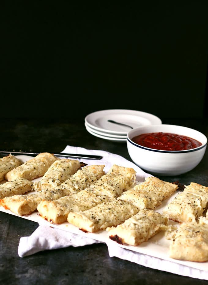 Chicago-Style deep dish breadsticks cut into rectangles