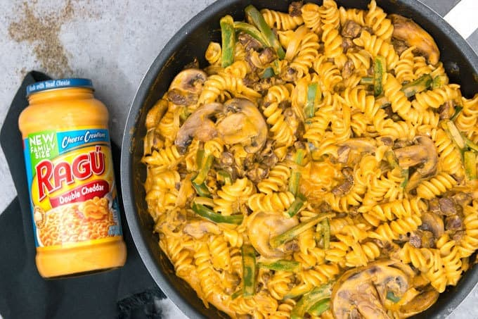overhead photo of Philly cheesesteak rotini