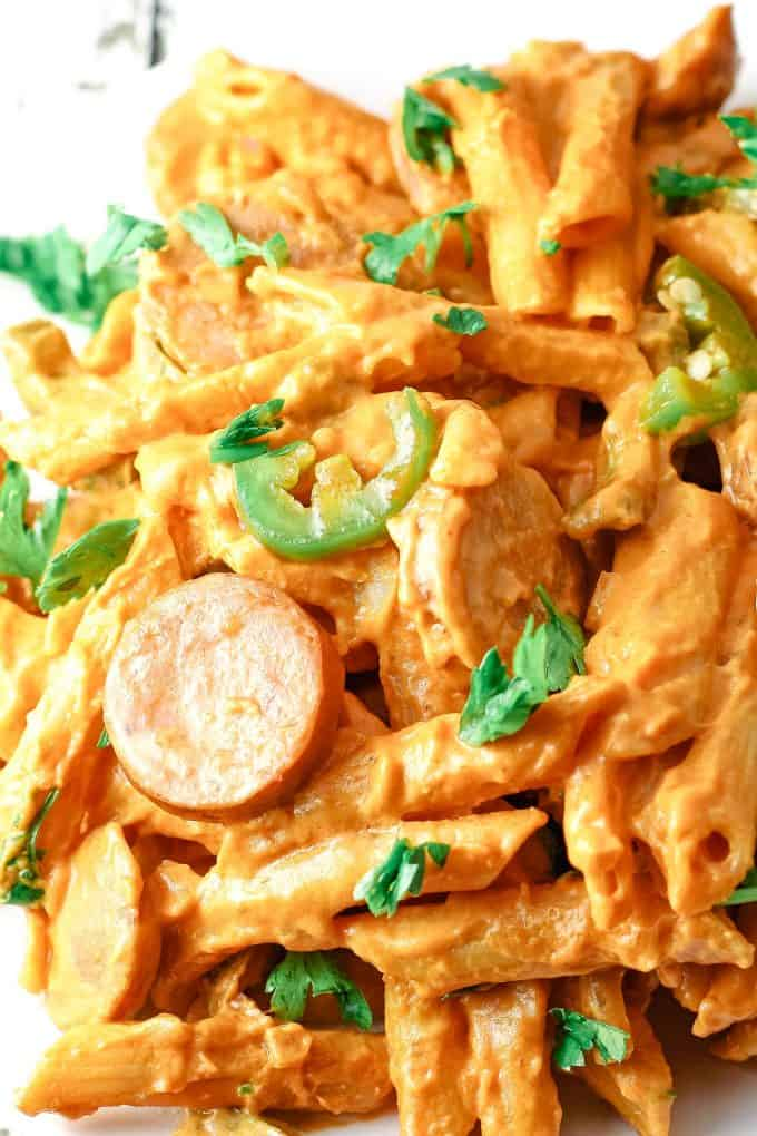 close up photo of spicy sausage pasta