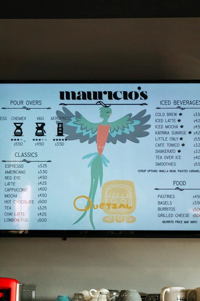 Maurico's menu in 211 Cafe