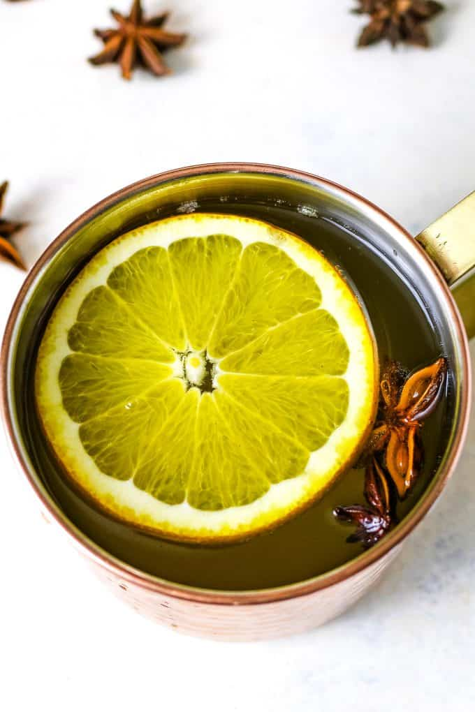 one copper mug with ginger citrus punch